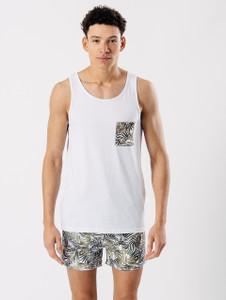 White Printed Pocket Vest