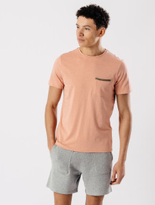 Pink Tape Edge Pocket T Shirt