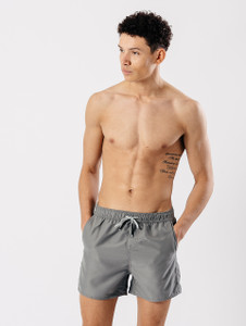 3 Pocket Solid Swim Shorts in Grey