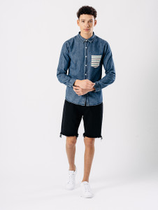 Blue Denim Contrast Pocket Shirt
