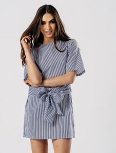 Blue Stripe Tie Fasten Dress