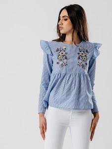 Blue Stripe Embroidered Smock Top