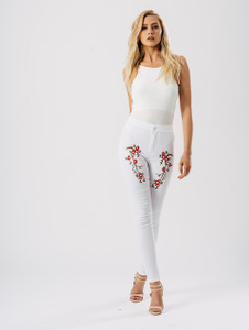 White Floral Embroidered Skinny Jeans