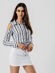 Blue Stripe Cold Shoulder Cropped Tie Shirt