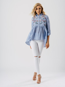 Stripe Print Dip Hem Embroidered Shirt in Blue