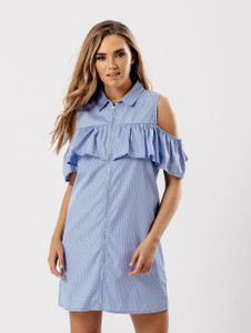Blue Stripe Cold Shoulder Frill Detail Dress
