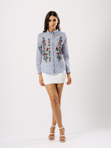Blue Stripe Floral Embroidered Shirt