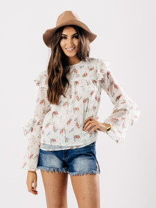 Cream Floral Ruffle Sleeve Top