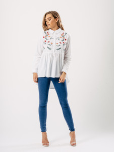 Dip Hem Floral Embroidered Shirt in White