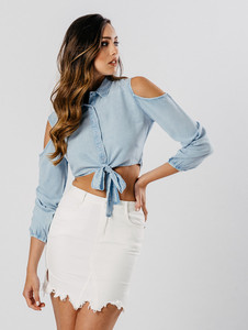 Light Wash Chambray Cold Shoulder Tie Waist Crop Top