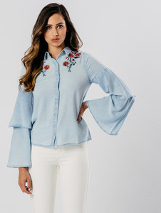 Chambray Light Wash Layered Sleeve Embroidered Shirt