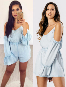 Chambray Light Wash Cold Shoulder Playsuit