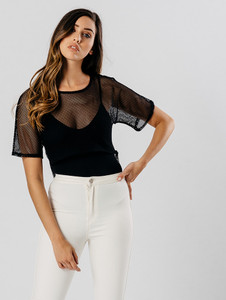 Black Mesh Net Low Back Crop Top