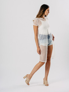 White Mesh Net Long Top