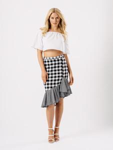 Monochrome Gingham Midi Frill Detail Skirt