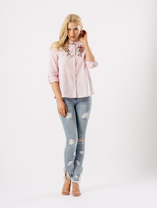 Pink Stripe Embroidered 3/4 Sleeve Shirt