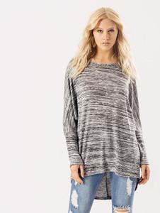 Grey Black Jersey Long Sleeves Dip Hem Top