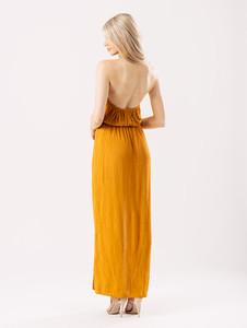 Mustard Cheesecloth Halterneck Maxi Dress