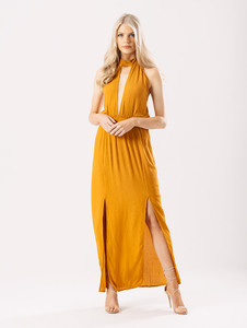 Mustard Cheesecloth Halterneck Maxi Dress