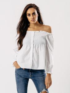 White Shirred Bardot Button Front Top