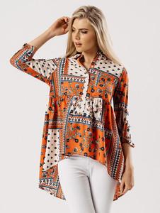 Orange Printed Dip Hem Shirt