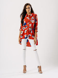 Red Multi Floral Dip Hem Shirt