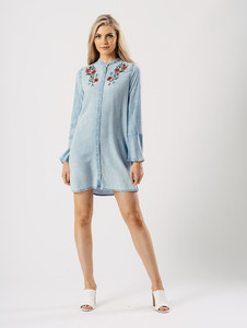 Light Wash Bell Sleeve Embroidered Dress