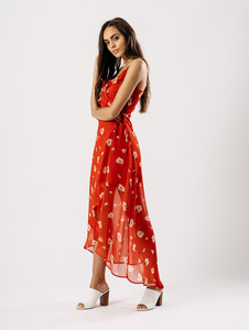 Red Floral Wrap Front Shift Dress