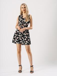 Black Floral Lace Cut Out Dress