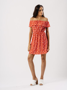 Red Floral Bardot Frill Dress