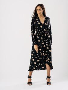 Black Floral Wrap Front Maxi Dress