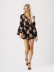 Black Floral Tier Sleeve Crossover Playsuit