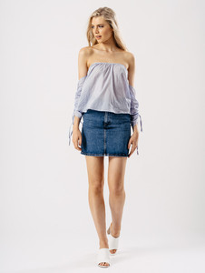 Blue Bardot Ruched Sleeve Top