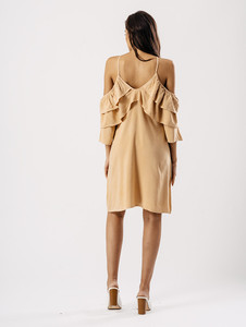 Nude Cross Front Ruffle Dress