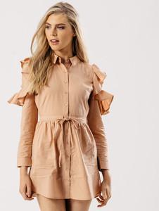 Blush Cold Shoulder Ruffle Drawstring Shirt Dress