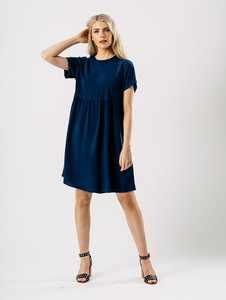 Navy Chambray Smock Dress