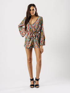 Paisley Print Wrap Flare Sleeve Playsuit