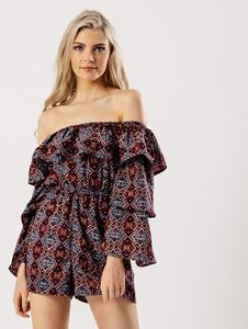 Navy Aztec Print Bardot Flare Layered Sleeve Playsuit