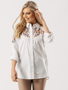 Embroidered Cotton Shirt in White