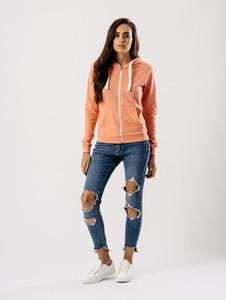 Jersey Zip Hoodie in Peach