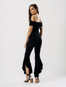Black Extreme Ruffle Hem Trousers