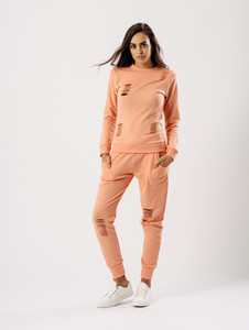 Peach Distressed Crew Neck Loungewear Set