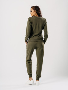 Khaki Distressed Crew Neck Loungewear Set