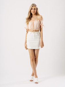 Pink Bardot Tie Sleeve Frill Crop Top
