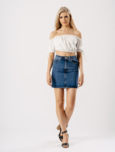 White Bardot Tie Sleeve Frill Crop Top
