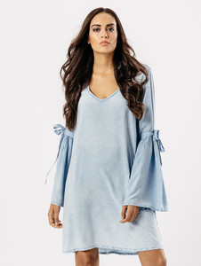 Blue Light Wash Tie Sleeve Dress