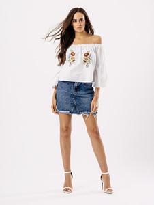 White Bardot Cotton Embroidered Top