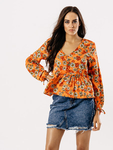 Orange Floral V Neck Balloon Sleeve Top