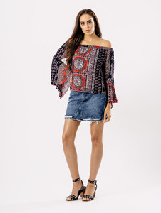 Multi Paisley Bardot Top With Flute Sleeves