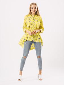 Yellow Floral Dip Hem Shirt